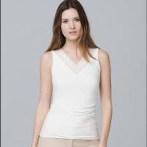 WHBM Embroidered Neckline Tank